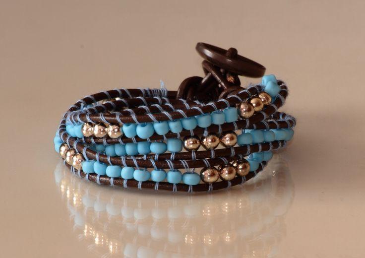 Pulsera boho chic azul y chocolate. Boho chic turquoise and chocolate wrap bracelet  - by Arriba Muñecas..