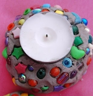 Craftstake air dry clay mold with tea lite let little ones decorate with beads. When done take tea light out ket dry over night and new candle holder is finished