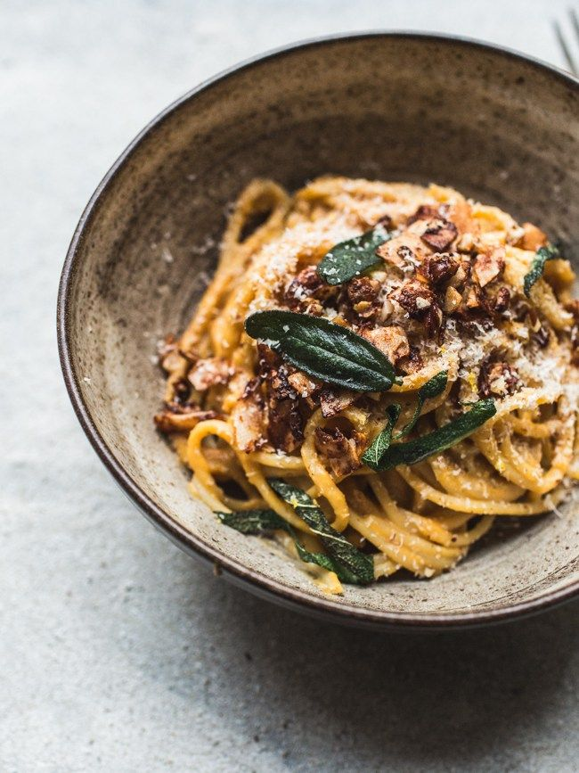 vegan butternut squash 'carbonara' with coconut bacon + crispy sage