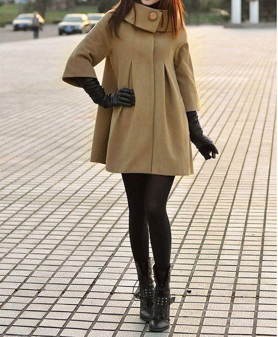 Camel Cape Wool Coat Winter Woman Cloak Long by dresstore2000, $49.89