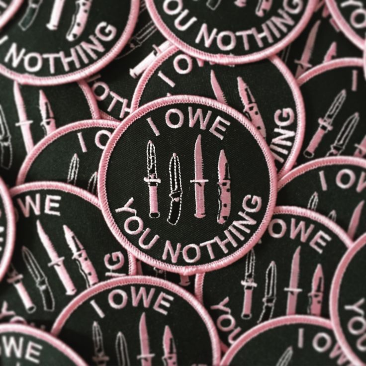 "shop-destruya:  ""I Owe You Nothing"" Embroidered Patches"
