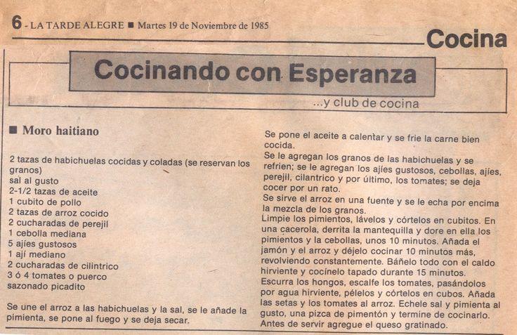 Moro Haitiano.  Cocinando con Esperanza y el Club de la Cocina. ¡La Tarde Alegre! 1985