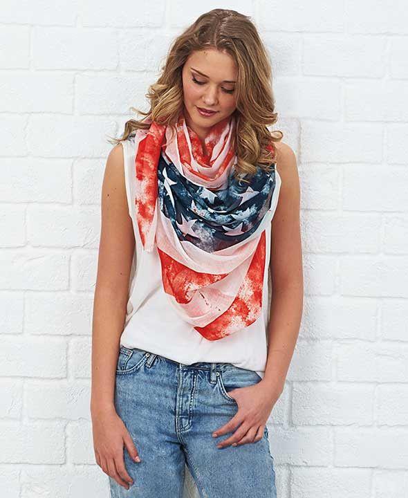 Patriotic Americana Fashion Scarf American Flag Pattern Stars & Stripes Stylish
