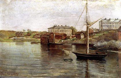 Ada Thilén, maalaus 1885. Katajanokan Pohjoisranta. Oikeanpuoleinen kivirakennus on Florinin talo. Samalla paikalla oli aikaisemmin ukko Granbergin koulu. Vasemmalla Wavulinin talo, jossa toimi Diakonissalaitos.