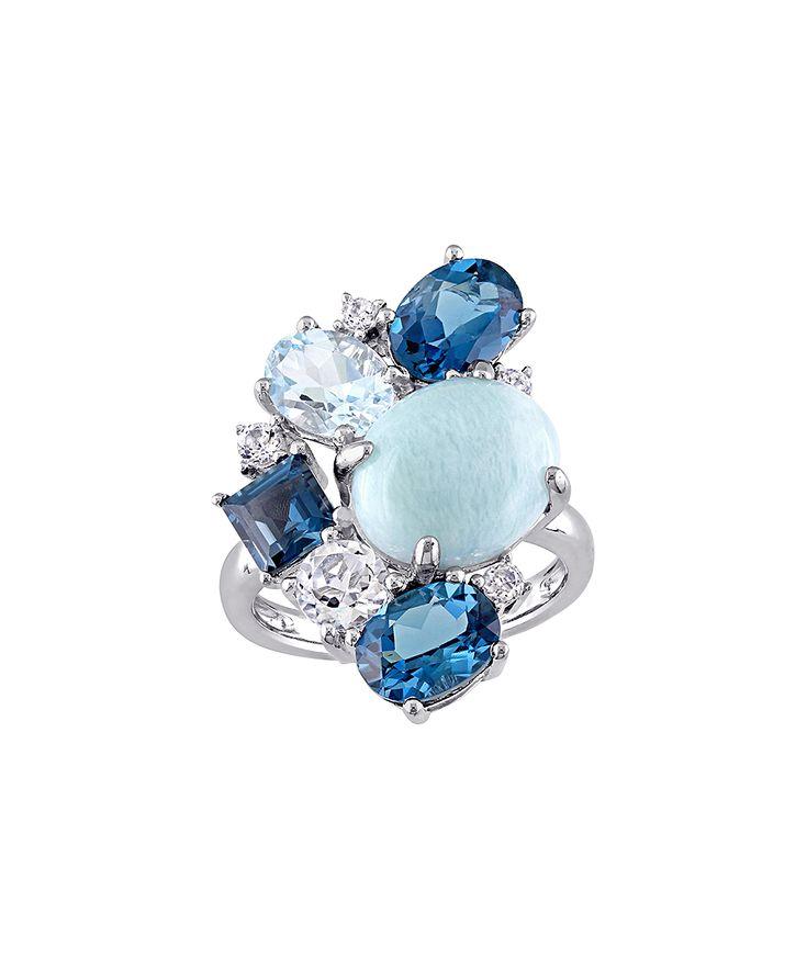 Larimar Blue Topaz & London Blue Topaz Cluster Ring