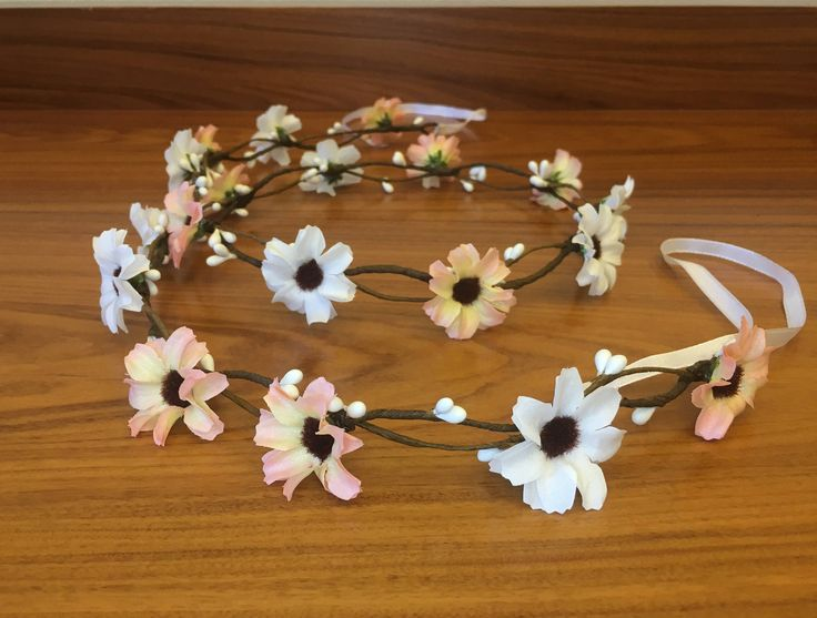 Excited to share the latest addition to my #etsy shop: Peach white flower crown Flower hair garland daisy crown Bridal flower crown Wedding flower crown Bridal floral crown Bridal hair wreath #accessories #weddings