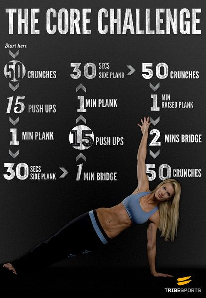 I like this core workout; the planks really get you!  The only modification I made is doing frog crunches instead of regular crunches to better isolate the abs and keep the hip flexors out of it.