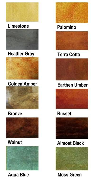 Concrete Stain Color Chart - who knew you could get these amazing color combinations on concrete surfaces.
