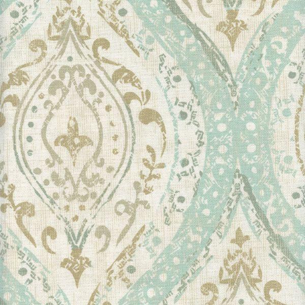 Ariana Spa Blue Cotton Floral Medallion Drapery Fabric by Richtex Premium Prints - 56972 | BuyFabrics.com