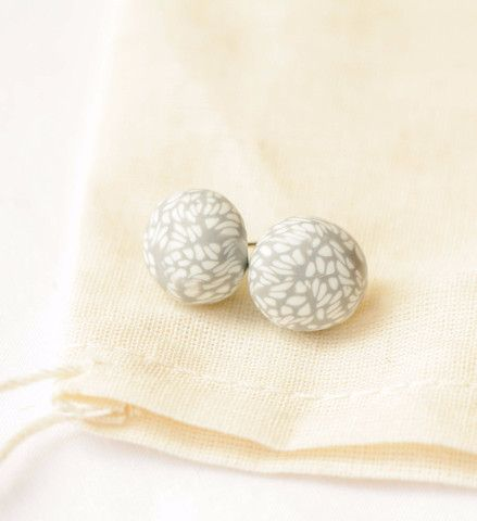 Light Grey Lacewing; polymer clay studs with surgical steel posts
