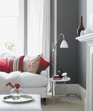 Decorating With Gray: Living Rooms, Color Schemes, Livingroom, Colors, Wall Color, Grey, Red Room, Gray