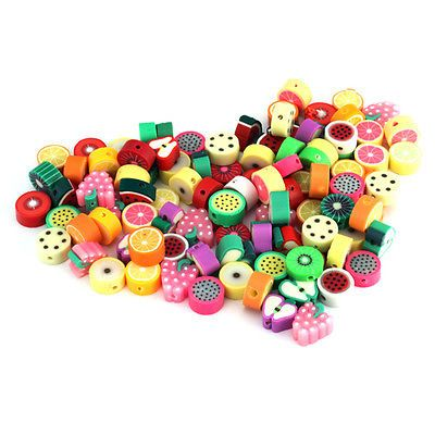100PCS MIXED LOTS FIMO POLYMER CLAY FRUIT BEADS, for me and mini me....