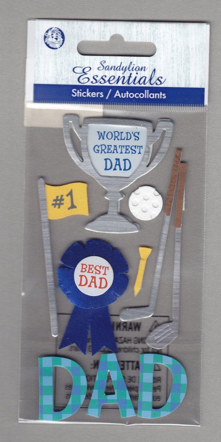 Sandylion+Essentials+Scrapbooking+Stickers+DAD+World's+Greatest+Best+Dad+Golf+Trophy+3D+-+EL03