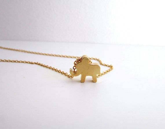 Tiny elephant necklace Dainty Gold Necklace Baby by EfZinCreations, $15.00