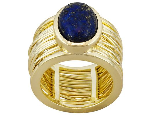 Moda Di Pietra(Tm) Oval Cabochon Lapis Lazuli 18k Yellow Gold Over Bro