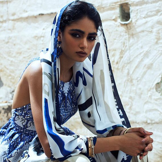 Printed silk shawl, Light twill silk blue and white scarf, MADE IN ITALY, Ethnic inspired Art to wear, Long designer scarf by Dikla Levsky