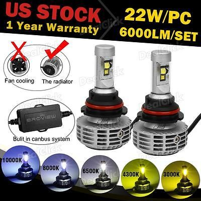 9007 HB5 6000LM Headlight Hi Lo Beam LED Bulb Replacement HID BroView M5 Canbus