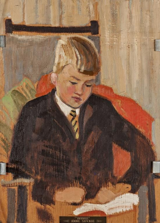 Anne Savage - Portrait of Bobbie 9 x 12 Oil on double sided panel (1940)
