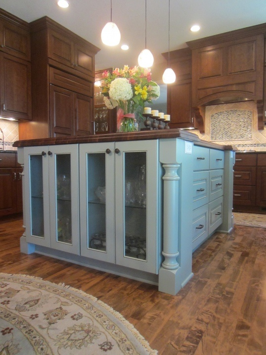 Island color, stacked cabinets