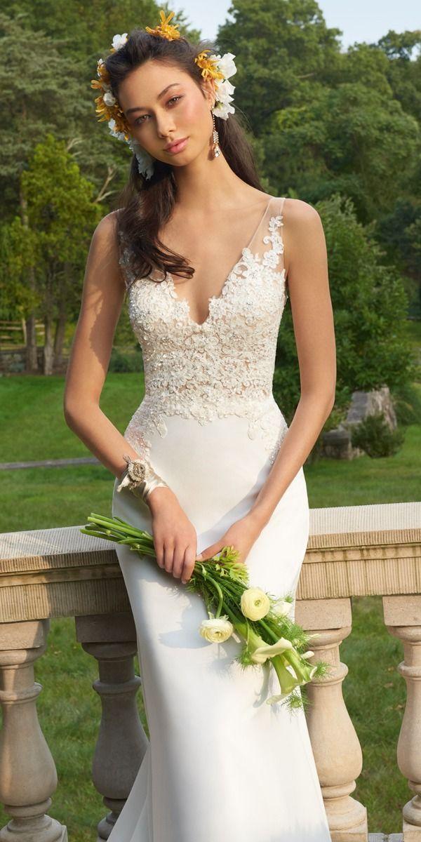 Lace Applique Illusion Bodice Crepe Dress Crepe Wedding Dress Wedding Dresses Classic Wedding Dress