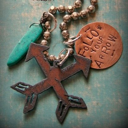 "COWGIRL GYPSY NECKLACE ""Follow Your Arrow"" Copper Dog Tag Rustic Metal Arrow Cross & Turquoise Charm on Silver Beaded Western Necklace"