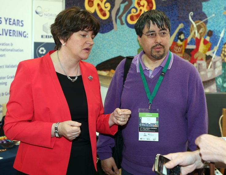 Minister of Enterprise Trade and Investment Arlene Foster along with Coder-Dojo founder Bill Liao