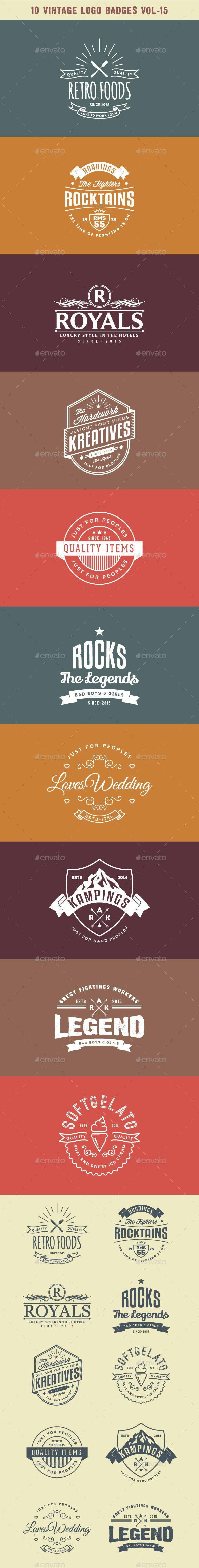 10 Vintage Logo Badges #logo #badges #design Download: http://graphicriver.net/item/10-vintage-logo-badges-vol15/10646510?ref=ksioks