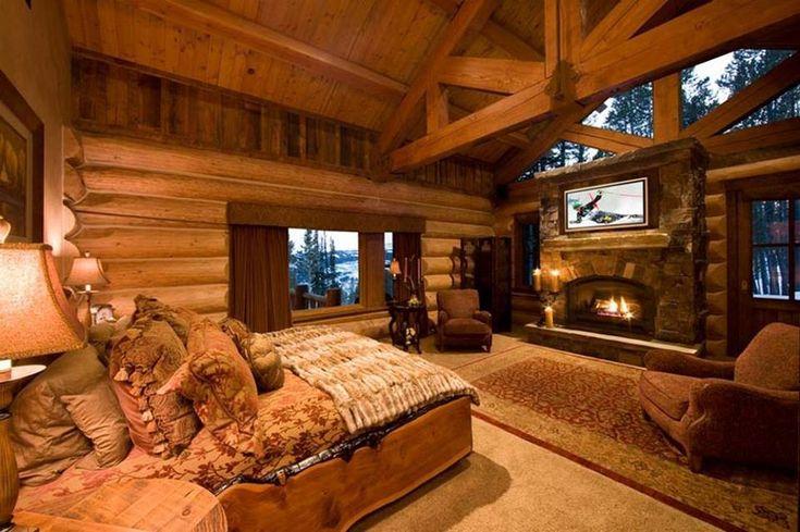 Awesome Log Cabin Bedroom Homes Pinterest