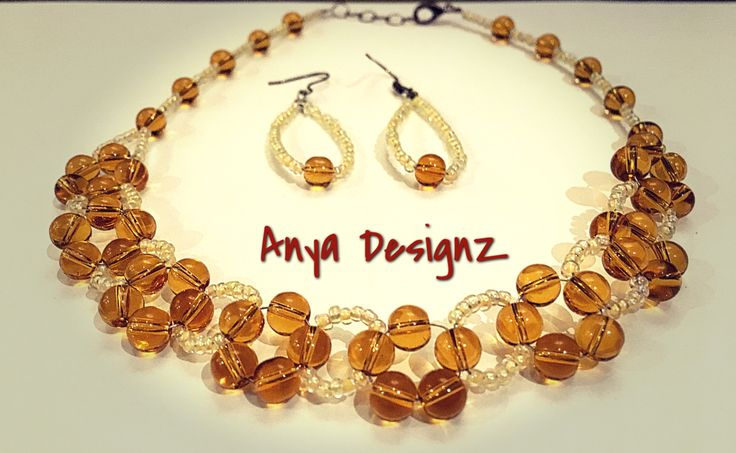 Choker set handmade with Honey and cream colour bead combination and a matching pair of earrings. Cost AUD20. Order through email anyadesignz@gmail.com.