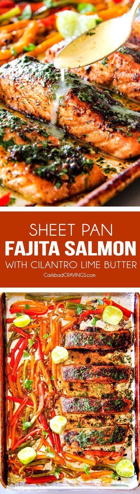 Slow Cooker: Sheet Pan Fajita Salmon with Cilantro Lime Butter ...