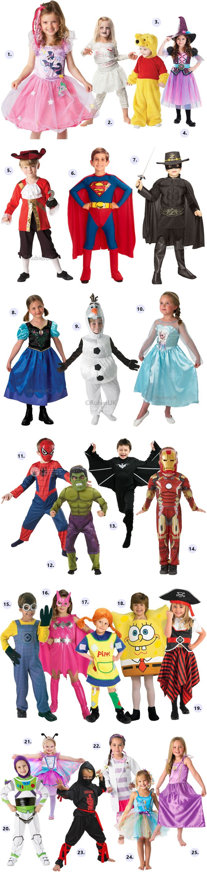 25 fun Halloween costume ideas for kids. Everything from princesses, pirates and ninjas to  Olaf, Spongebob and Pippi. Even Minions, Iron-Man and the Hulk. You will for sure find a favorite here.  http://www.reidunbeate.com/2015/10/05/25-goyale-barnekostymer-til-halloween/