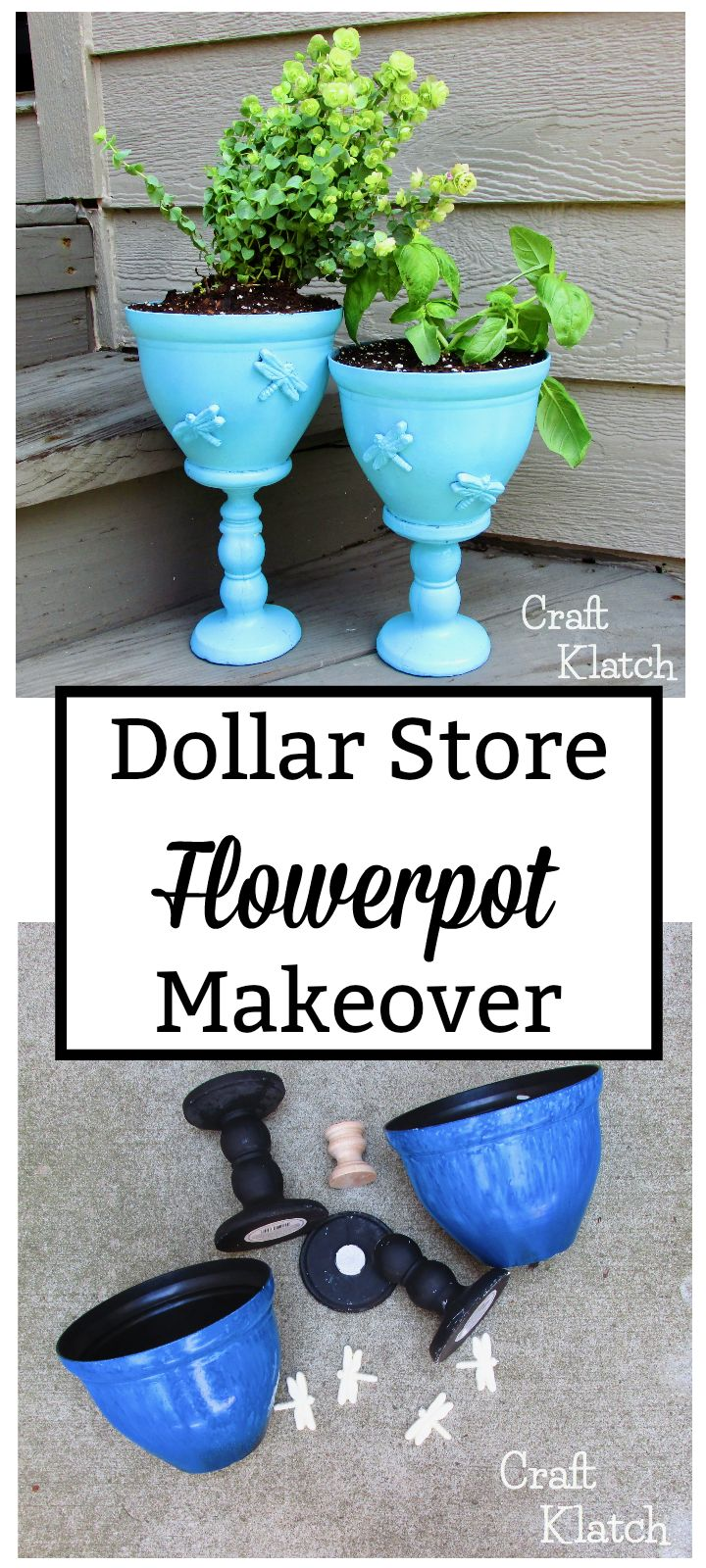 This is a great dollar store craft to tackle this weekend! Completely makeover a flowerpots from Dollar Tree and turn them into styles pots for your herb garden! It's easy! #howto #diy #diys #craft #crafts #crafting #howto #handmade #homedecor #decor #makeover #makeovers #redo #repurpose #reuse #recycle #recycling #upcycle #upcycling #unique #landscape #landscaping #garden #gardening #gardenideas #gardendecor
