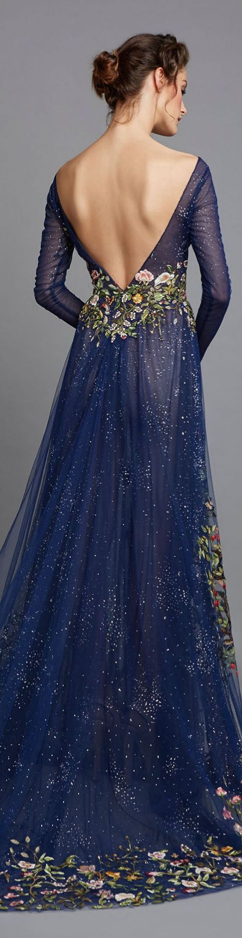 Hamda Al Fahim ~ Floral Embroidered  Open Back Midnight Blue Gown 2015