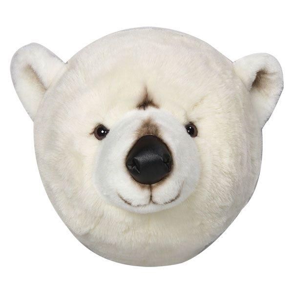 Déco murale enfant peluche tête d'ours blanc