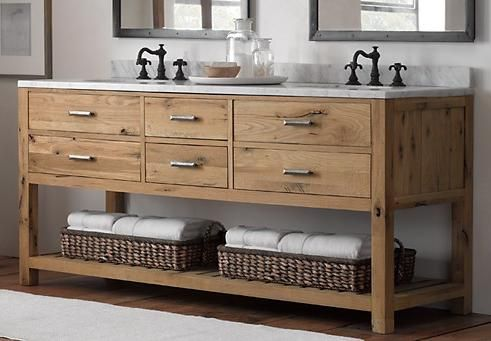 Logan Double Washstand In Reclaimed White Oak From Restoration Hardware