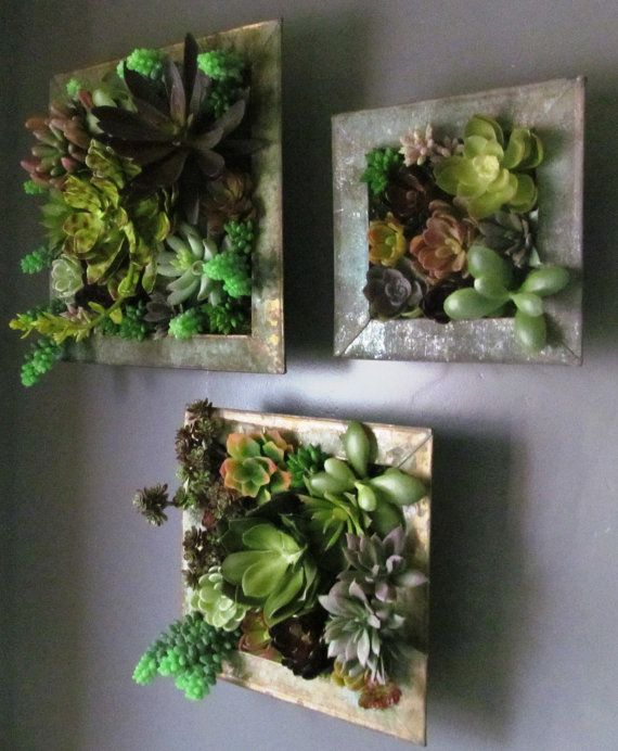 Vertical Succulent Garden with Artificial Succulents in a 7 inch by 7 inch patina metal container. Other shapes and sizes available.
