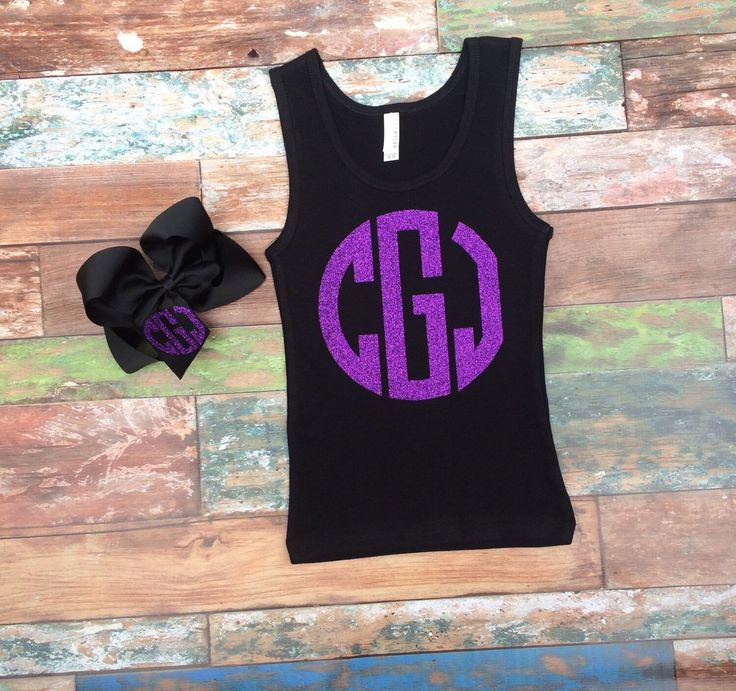 Glitter Monogram Tank Top and Monogrammed Hair Bow Gift Set, Monogrammed Tank Top, Monogrammed Boutique Hair Bow by PoshPrincessBows1 on Etsy https://www.etsy.com/listing/193313057/glitter-monogram-tank-top-and