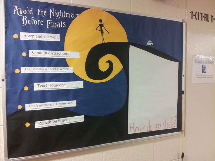 Avoid the Nightmare Before Finals. A Disney, Nightmare Before Christmas board with study tips and an interactive section for people to give their own suggestions.