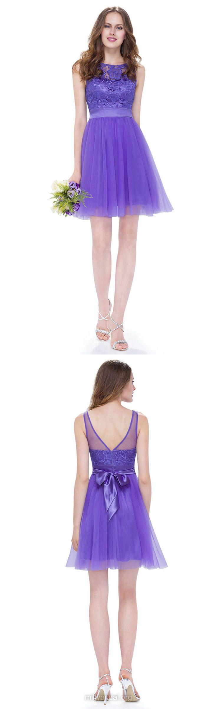 Purple Bridesmaid Dresses Short, Lace Bridesmaid Dresses 2018, A-line Bridesmaid Dresses Scoop Neck, Tulle Bridesmaid Dresses with Sashes / Ribbons