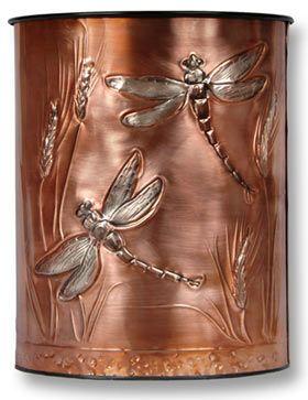 Hentzi Dragonfly Wheat Copper Waste Basket