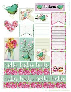 Free Hello Green Bird Printable Planner Stickers