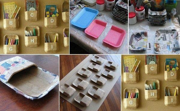 Recycle opvangbakjes van bijvoorbeeld vlees/kip en tover ze om tot handige opberg bakjes