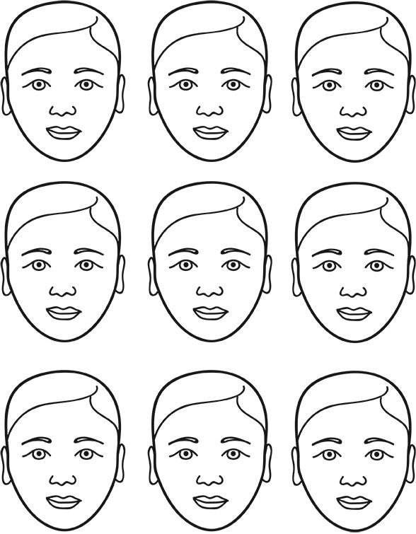 FacePaintingTemplate Front On And Profile View