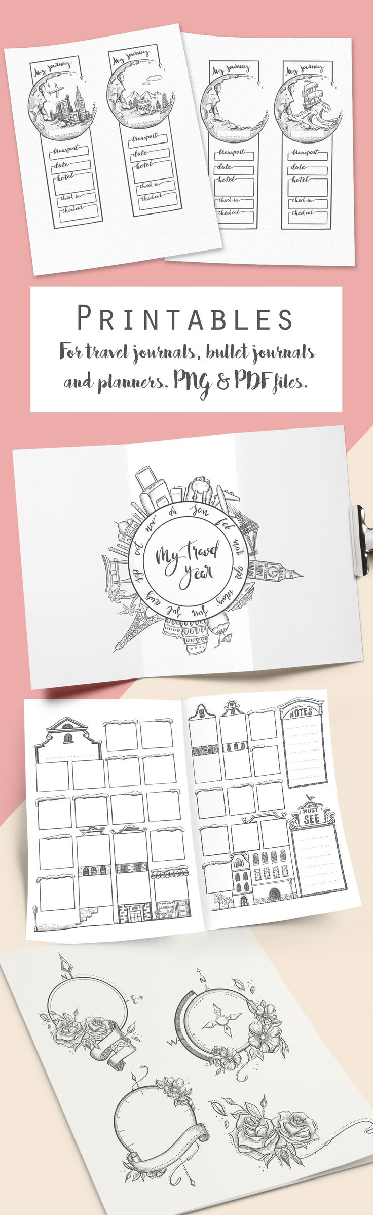 A bunch of travel related printables for your journals. Png and pdf files available. #printable #printables #bulletjournaling #bulletjournal #traveljournal