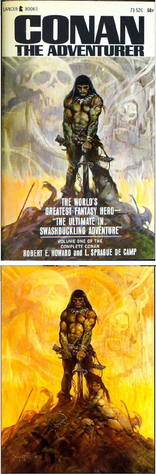 FRANK FRAZETTA - Conan the Adventurer - L. Sprague de Camp & Robert E. Howard  - 1966 Lancer Books 73-526 - cover by isfdb - print by frankfrazetta.net