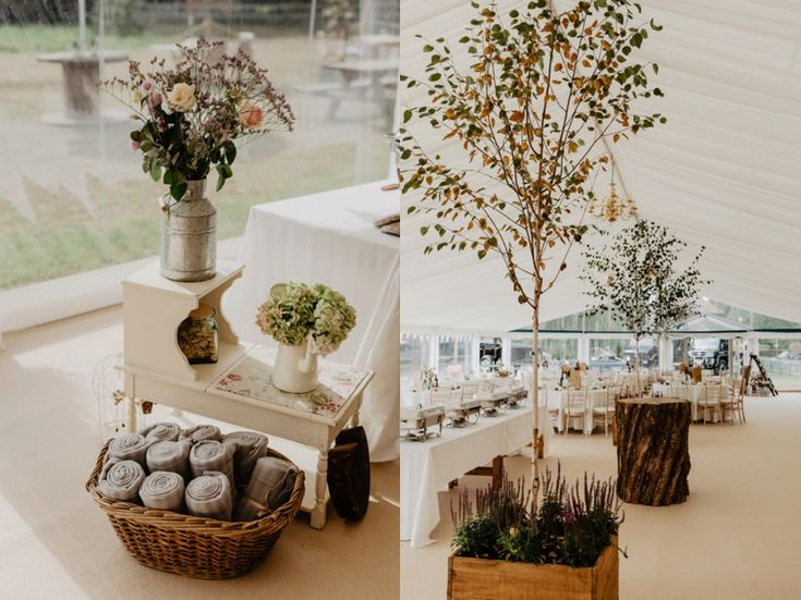 Don't forget that you and your family may already have furniture lying around that could really help style your wedding. Country flowers can make anything look pretty! Photo by Benjamin Stuart Photography #weddingphotography #diywedding #countrywedding #flowers #trees #lavender #receptiondecor