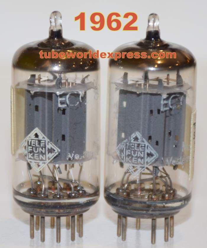 1 12au7 Telefunken Pair 1962 12au7 Ecc82 Telefunken Germany