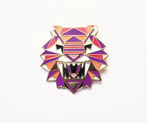 Hey, I found this really awesome Etsy listing at https://www.etsy.com/listing/180773519/geometric-tiger-brooch-pin-badge-enamel
