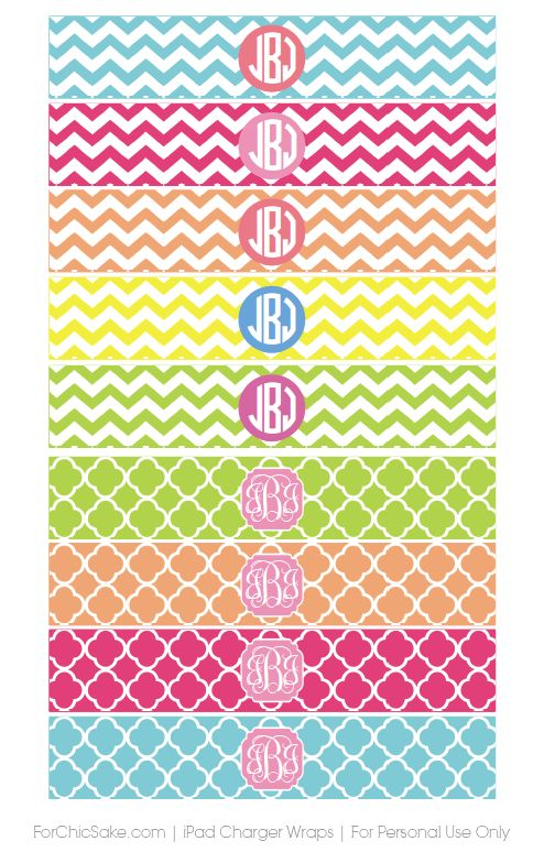 Dress Your Tech: Printable Monogrammed iPad Charger Wraps by ForChicSake.com. Get yours today for Free!