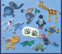 """Quilled Creation Zoo Animals Kit @ Custom Quilling Supplies - The quilled pieces are about 2"""" to 3"""" in diameter and 1/8"""" in height. All of the designs will be perfect for a scrapbook page, a gift card and a framed picture. This kit includes design instructions and quilling paper to make all of the designs shown. www.customquilling.com"""
